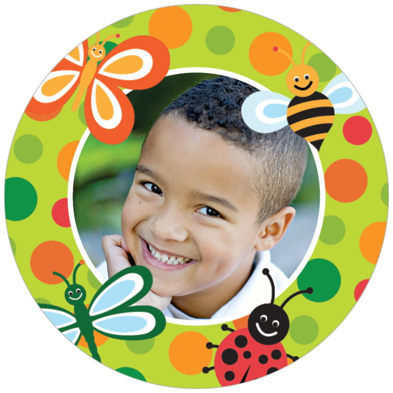 circle photo labels - lime - lil' bug (set of 20)