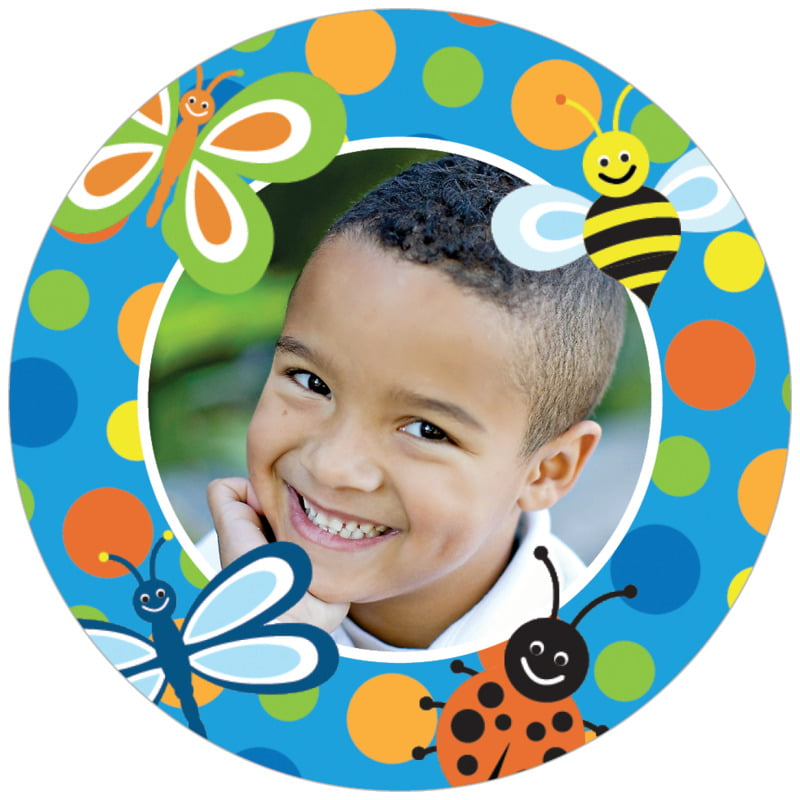 circle photo labels - blue - lil' bug (set of 20)