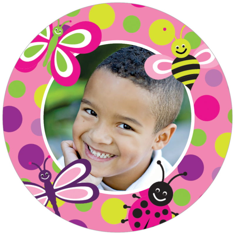 circle photo labels - bright pink - lil' bug (set of 20)