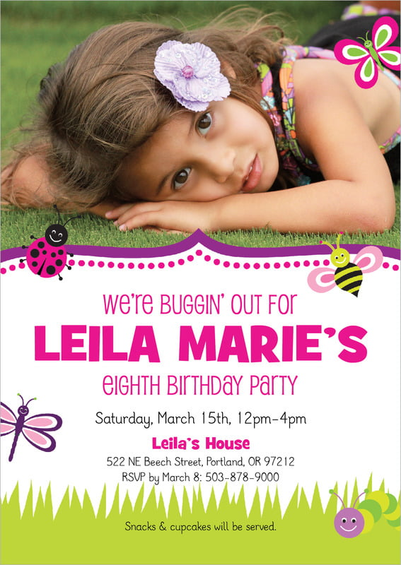 custom invitations - bright pink - lil' bug (set of 10)