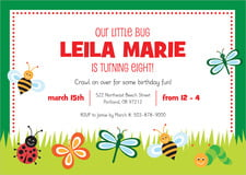 custom invitations - lime - lil' bug (set of 10)