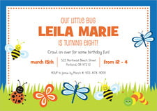 custom invitations - blue - lil' bug (set of 10)