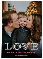 Love And Joy Photo Cards - Vertical In Tuxedo