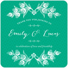 Lucky in Lace square coasters