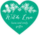 Lucky in Lace heart hang tags