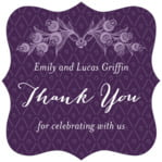 Lucky In Lace Fancy Square Label In Purple