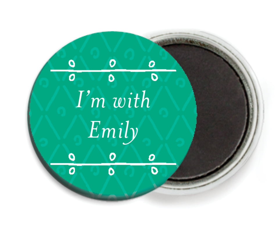 custom button magnets - kelly green - lucky in lace (set of 6)