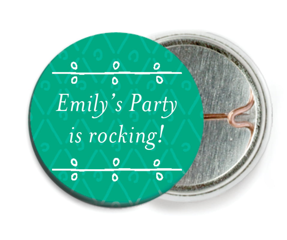 custom pin back buttons - kelly green - lucky in lace (set of 6)