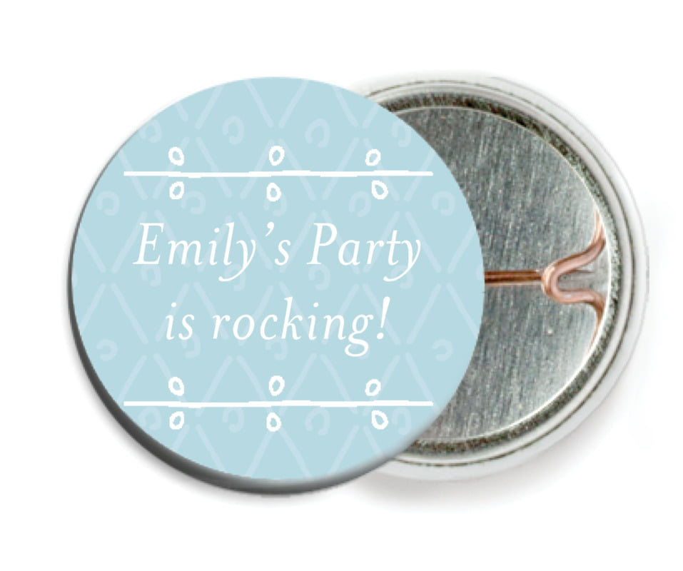 custom pin back buttons - blue - lucky in lace (set of 6)