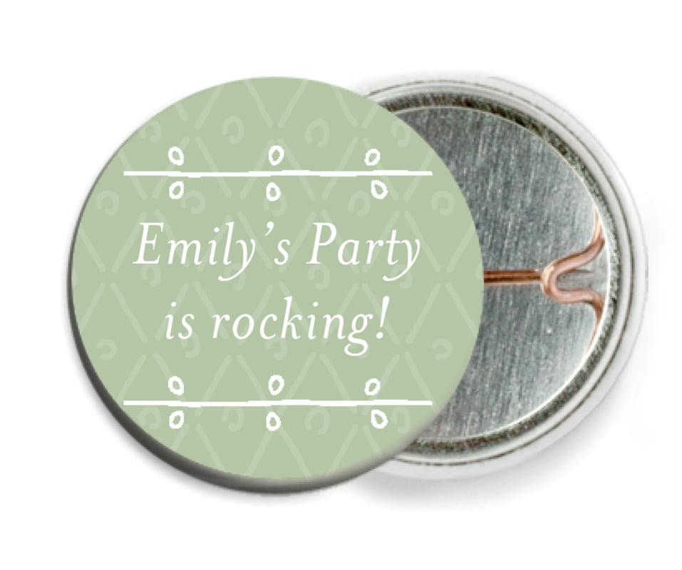 custom pin back buttons - sage - lucky in lace (set of 6)
