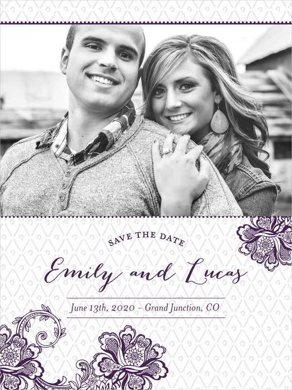 custom tall save the date cards - purple - lucky in lace (set of 10)