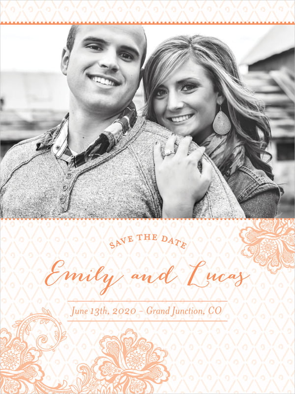 custom tall save the date cards - peach - lucky in lace (set of 10)