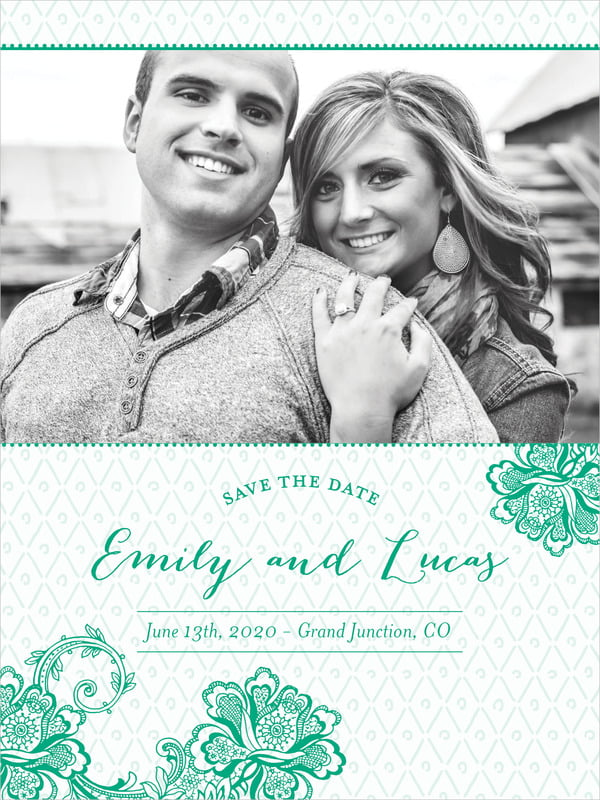 custom tall save the date cards - kelly green - lucky in lace (set of 10)