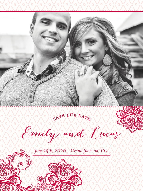 custom tall save the date cards - deep red - lucky in lace (set of 10)