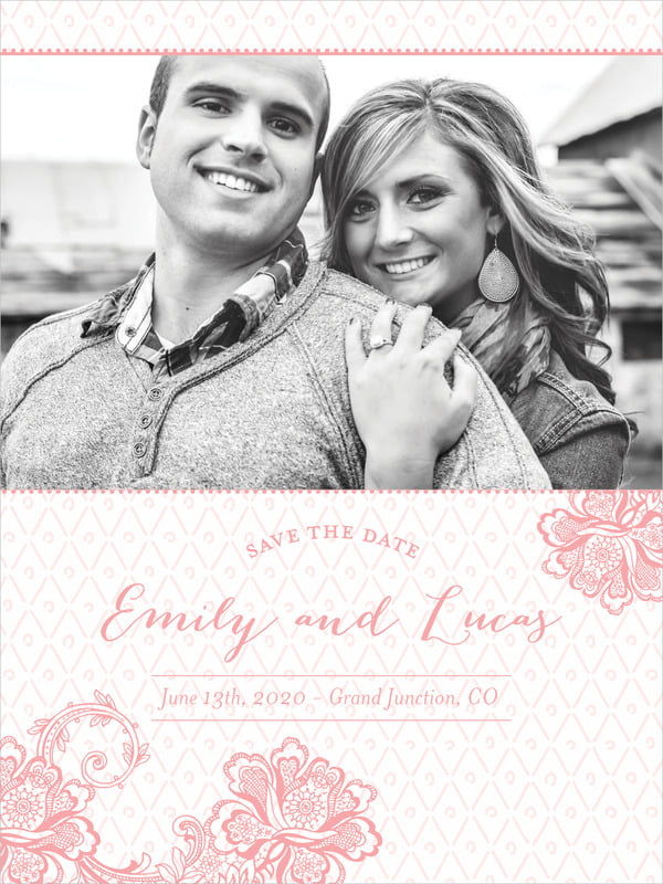 custom tall save the date cards - grapefruit - lucky in lace (set of 10)