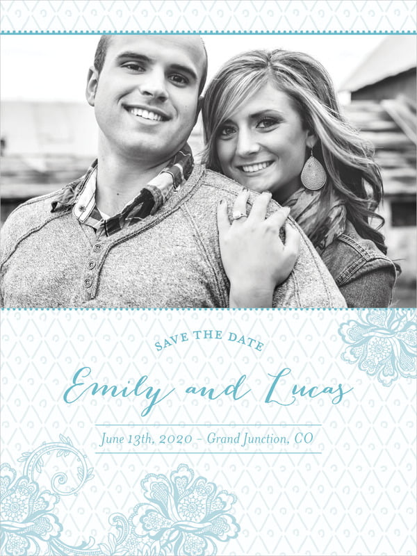 custom tall save the date cards - blue - lucky in lace (set of 10)