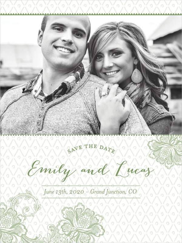custom tall save the date cards - sage - lucky in lace (set of 10)