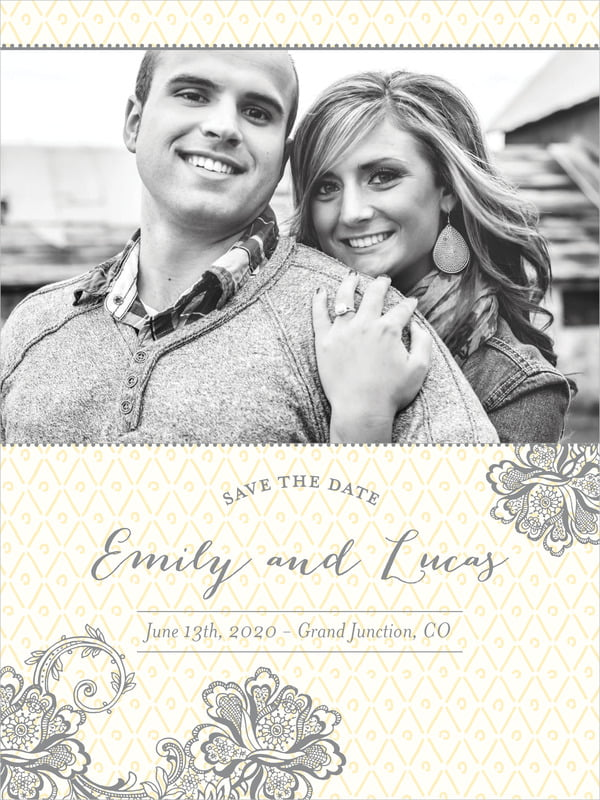 custom tall save the date cards - sunflower - lucky in lace (set of 10)