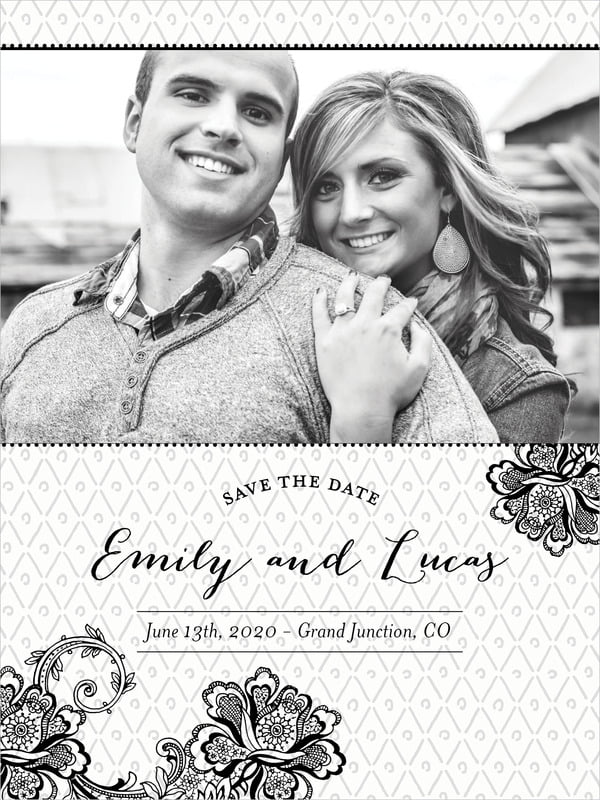 custom tall save the date cards - tuxedo - lucky in lace (set of 10)