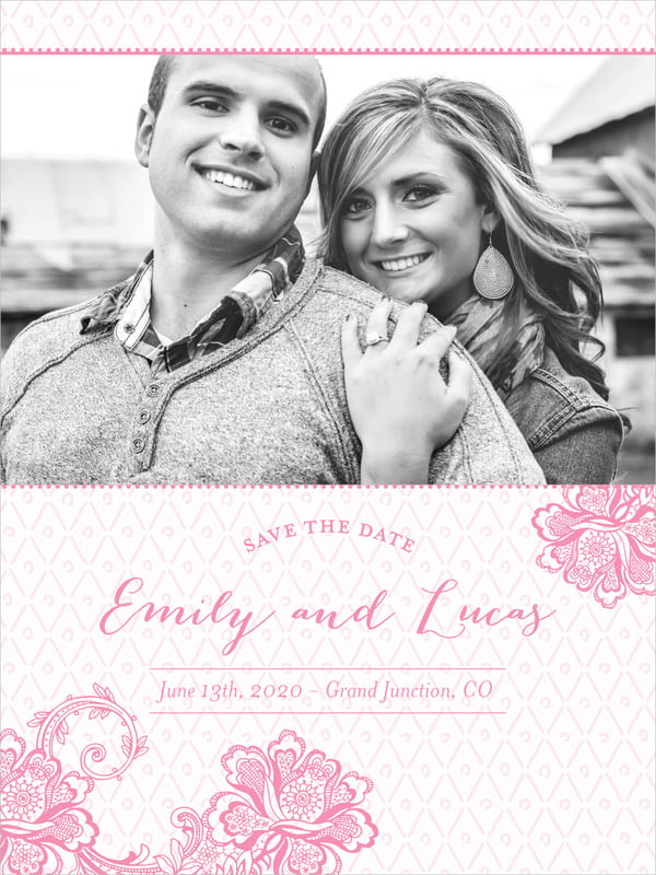 custom tall save the date cards - pink - lucky in lace (set of 10)