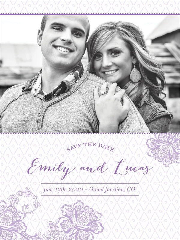 custom tall save the date cards - lilac - lucky in lace (set of 10)