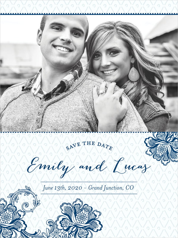 custom tall save the date cards - deep blue - lucky in lace (set of 10)