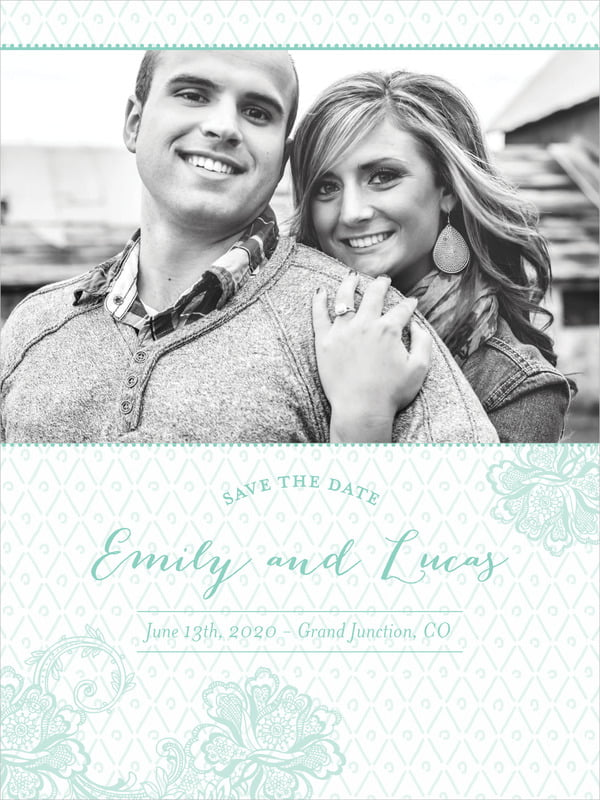 custom tall save the date cards - sea glass - lucky in lace (set of 10)