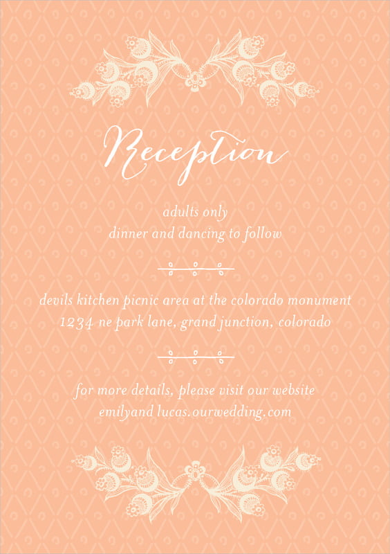 custom tall enclosure cards - peach - lucky in lace (set of 10)