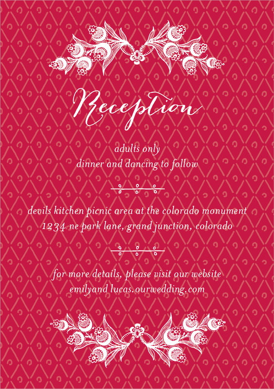 custom tall enclosure cards - deep red - lucky in lace (set of 10)
