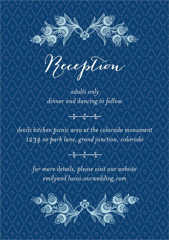 custom tall enclosure cards - deep blue - lucky in lace (set of 10)
