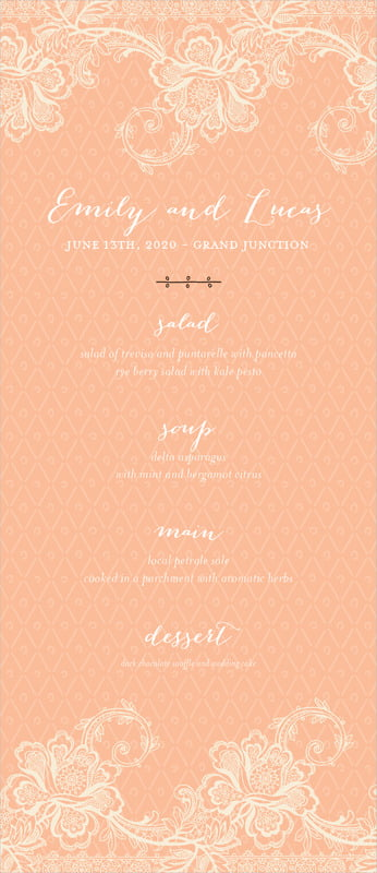 custom menus - peach - lucky in lace (set of 10)