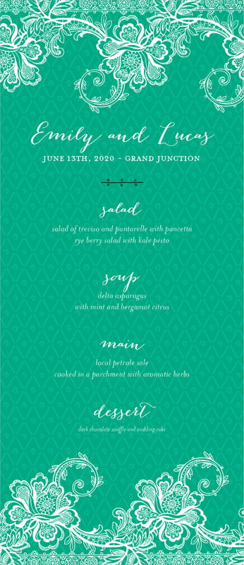 custom menus - kelly green - lucky in lace (set of 10)