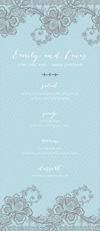 custom menus - blue - lucky in lace (set of 10)