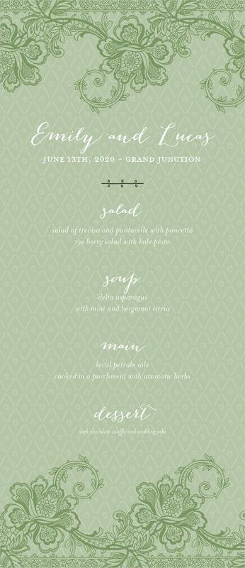 custom menus - sage - lucky in lace (set of 10)