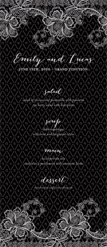 custom menus - tuxedo - lucky in lace (set of 10)