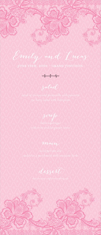 custom menus - pink - lucky in lace (set of 10)