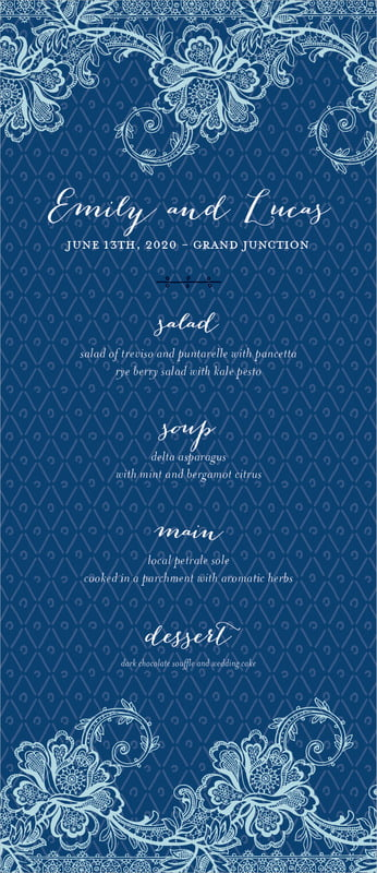 custom menus - deep blue - lucky in lace (set of 10)