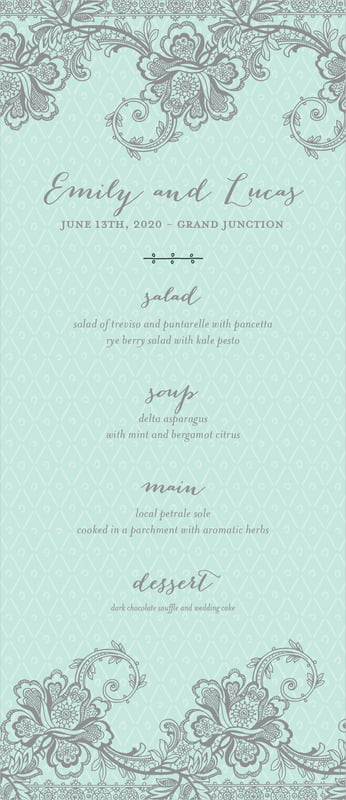 custom menus - sea glass - lucky in lace (set of 10)