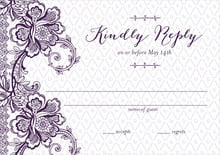 custom response cards - purple - lucky in lace (set of 10)