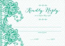 custom response cards - kelly green - lucky in lace (set of 10)