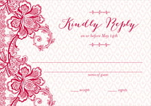 custom response cards - deep red - lucky in lace (set of 10)