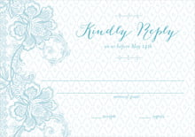 custom response cards - blue - lucky in lace (set of 10)