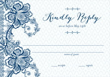 custom response cards - deep blue - lucky in lace (set of 10)