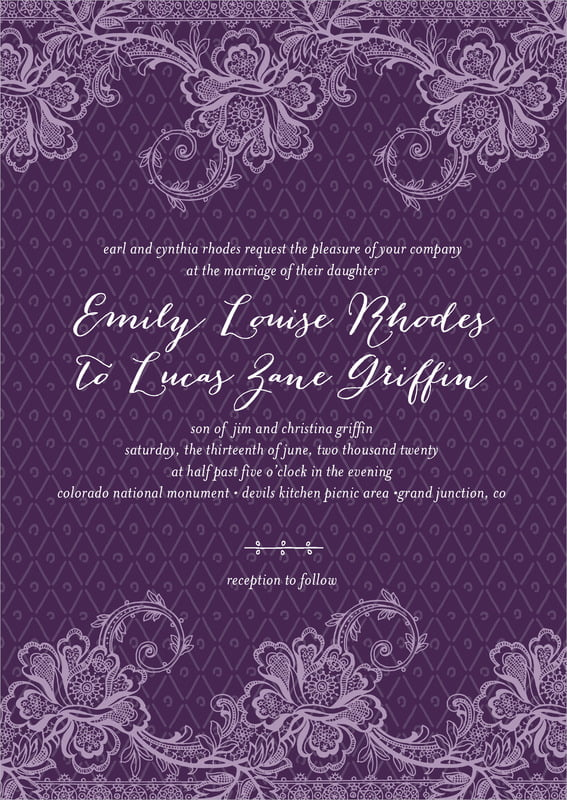 custom invitations - purple - lucky in lace (set of 10)