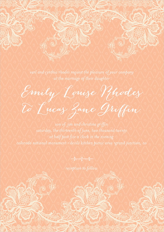 custom invitations - peach - lucky in lace (set of 10)
