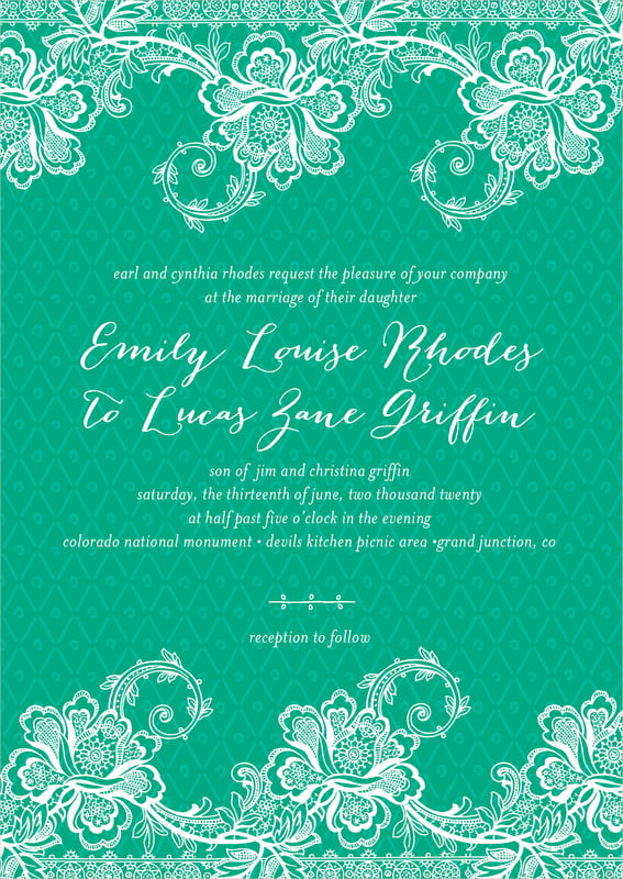 custom invitations - kelly green - lucky in lace (set of 10)