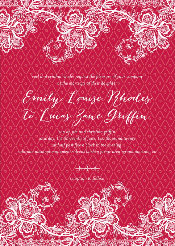 custom invitations - deep red - lucky in lace (set of 10)
