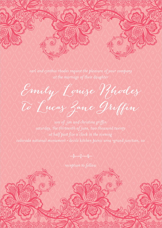 custom invitations - grapefruit - lucky in lace (set of 10)