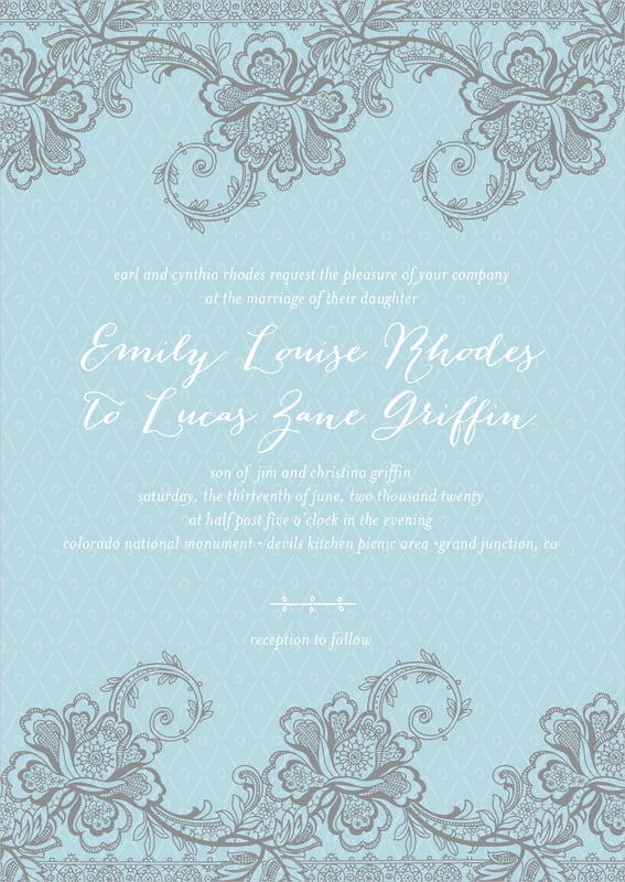 custom invitations - blue - lucky in lace (set of 10)