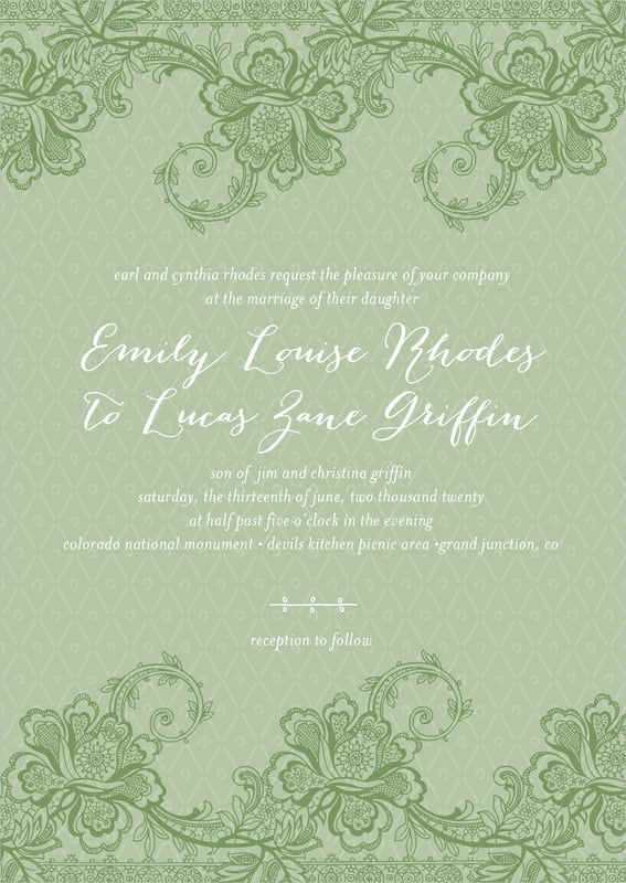custom invitations - sage - lucky in lace (set of 10)